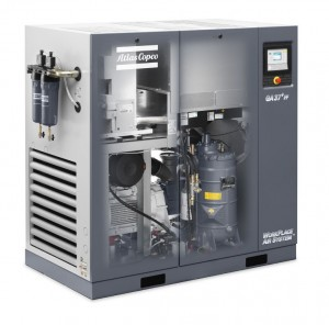 GA 37 plus Oil injected screw air compressor with integrated refrigerant dryer.